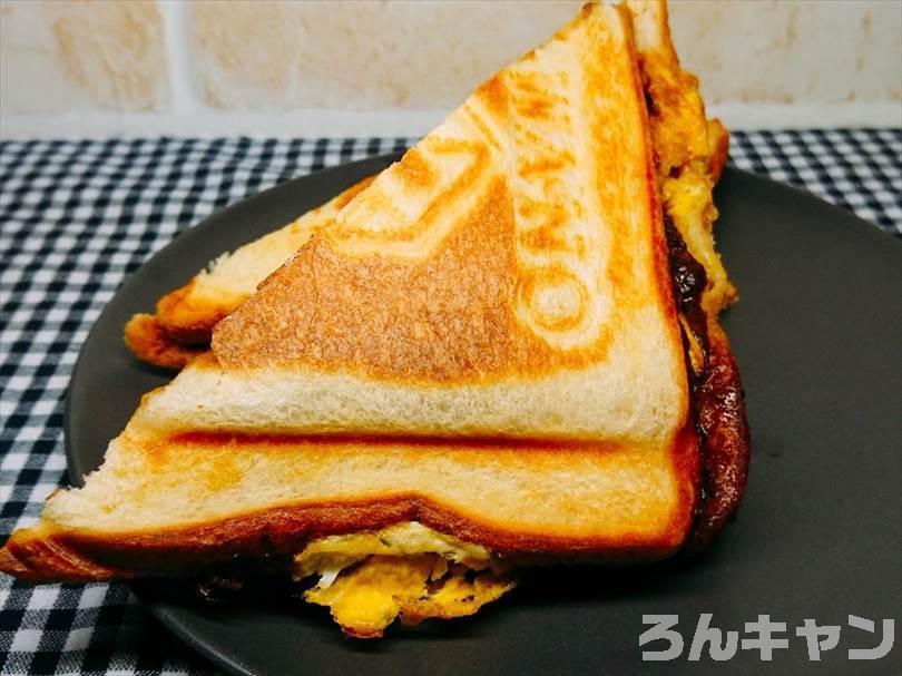 特大ハンバーグとふわふわタマゴとチーズのホットサンド