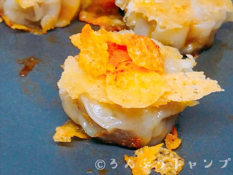 ホットサンドメーカーで焼いた後のシューマイととろけるチーズ