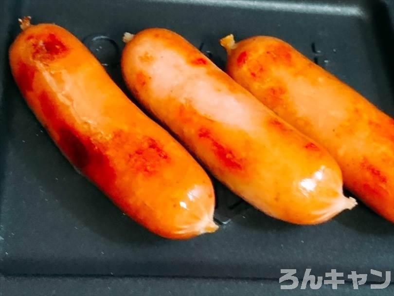 ホットサンドメーカーで焼いたウインナーソーセージ