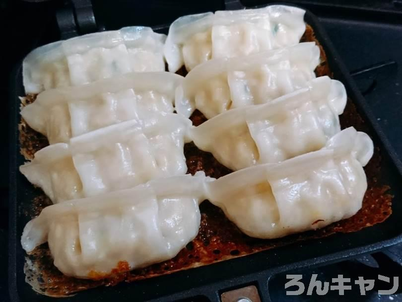 ホットサンドメーカーで焼いた冷凍餃子
