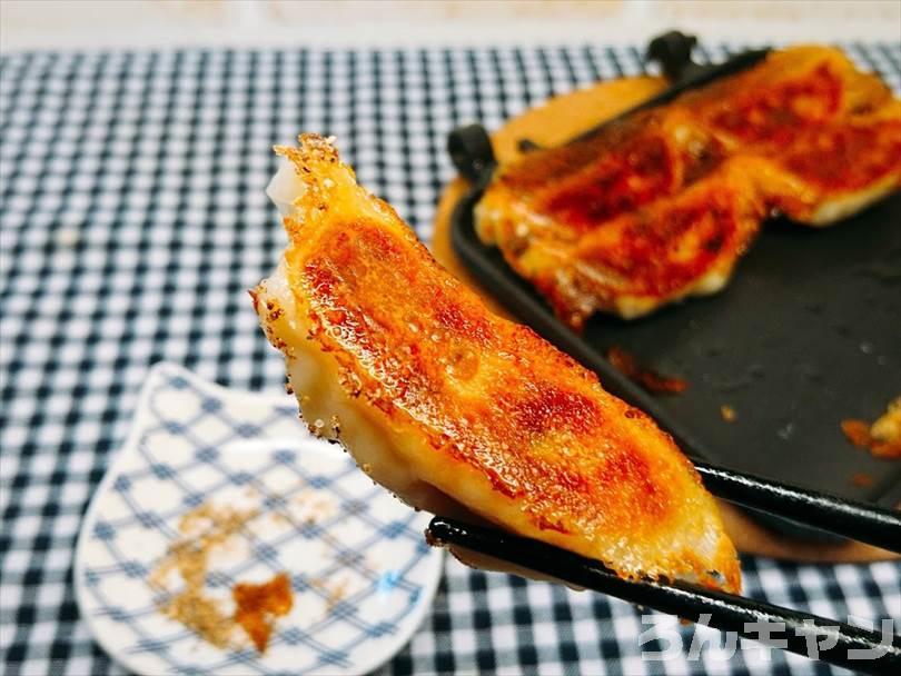 ホットサンドメーカーで焼いた冷凍餃子をマキシマムで食べる