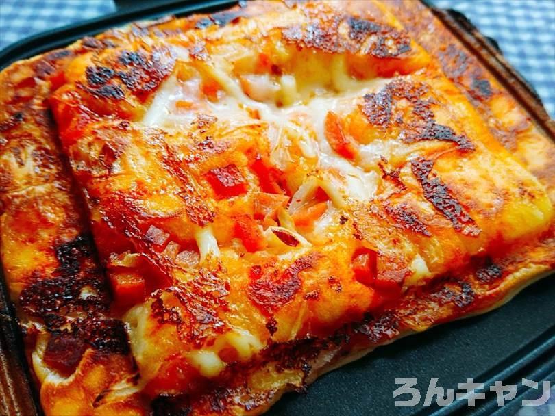 ホットサンドメーカーで焼いた後のピザパン