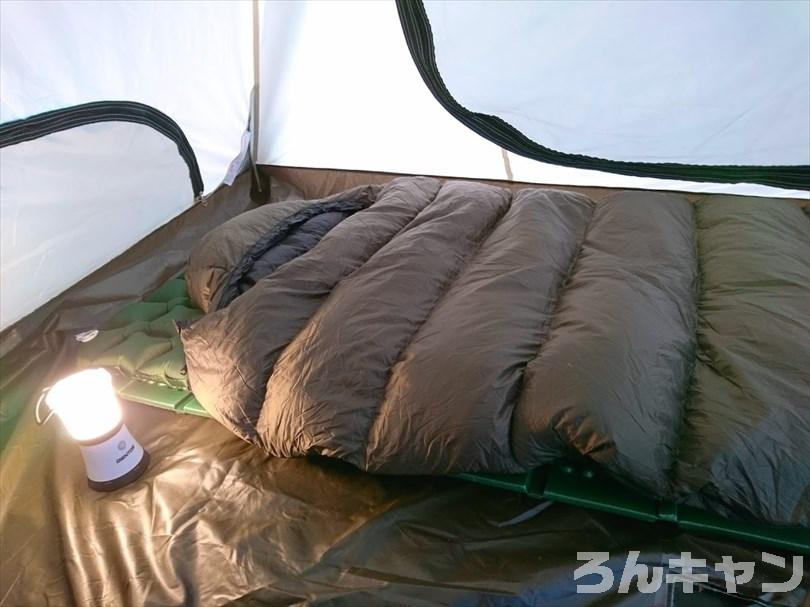 ハイランダー ダウンシュラフ600を使って寝るときの様子