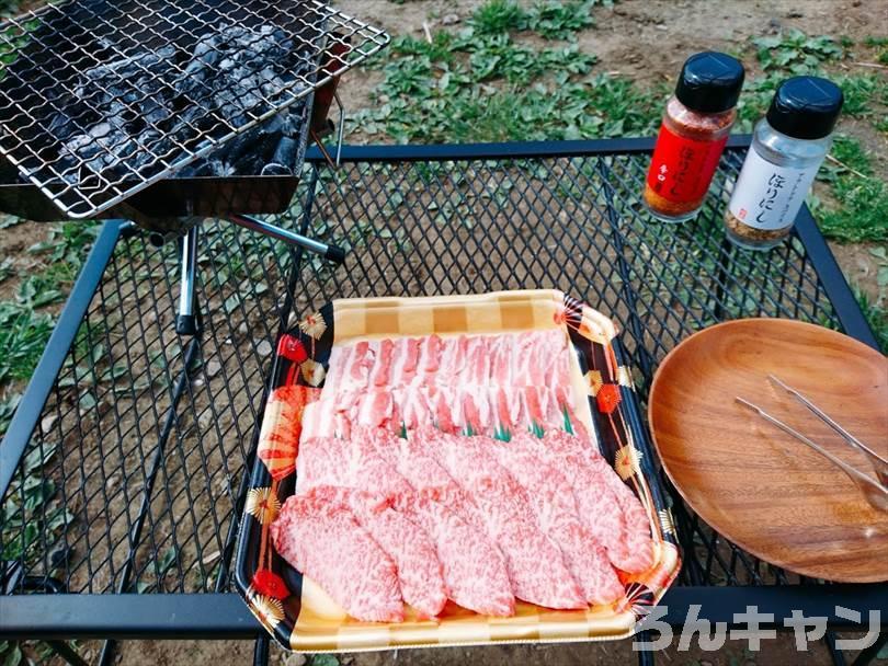 ユニフレームのファイアグリルsoloで焼き肉バーベキューを楽しむ