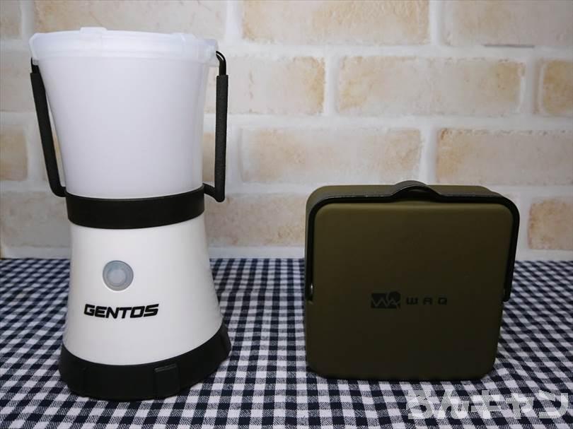 WAQ LEDランタンとGENTOSのLEDランタンを並べて大きさを比較