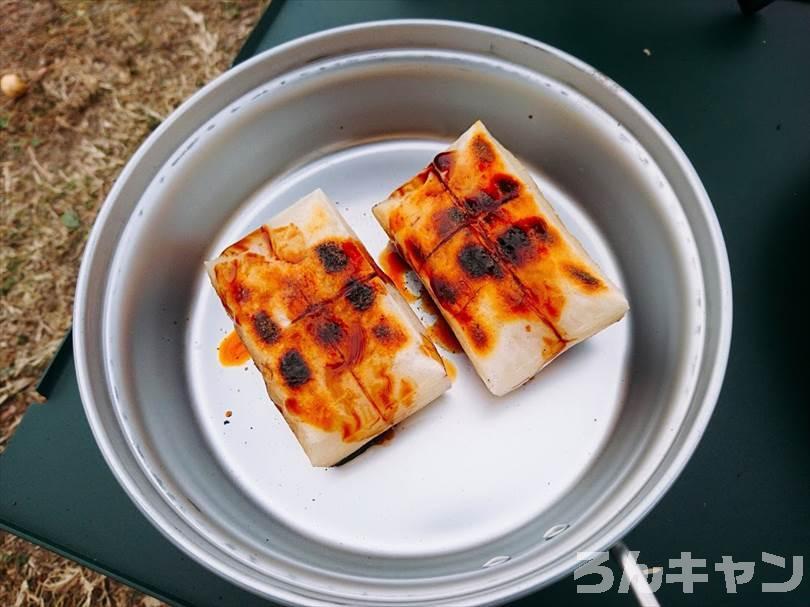 キャンプでお餅を焼いて磯辺焼きを食べる