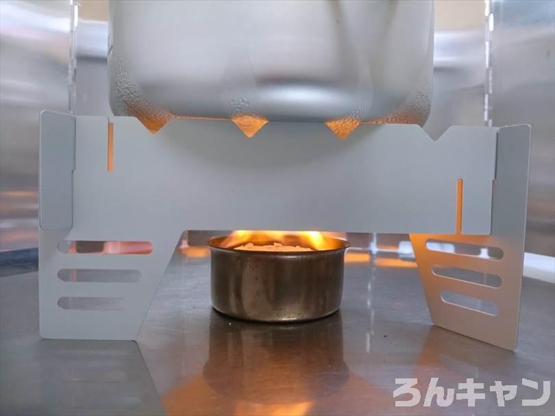 セリアの固形燃料(30g)でサッポロ一番塩ラーメンをつくる