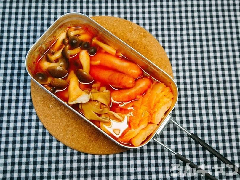 トランギアのメスティンでキムチ鍋(シメは雑炊)をつくる