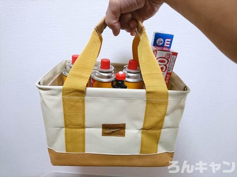 【キャンプ道具入れ】カインズの折りたたみバッグ(大小)が安くてしっかり|取っ手つきで持ちやすい